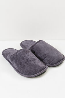 Slippers with rubber sole, Grey, hi-res