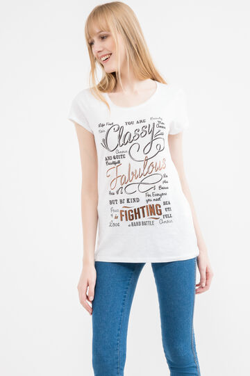 100% cotton T-shirt with printed lettering, White/Black, hi-res