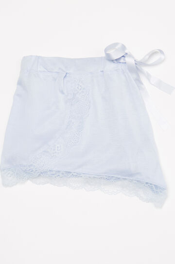 Viscose pyjama shorts with lace, Light Blue, hi-res