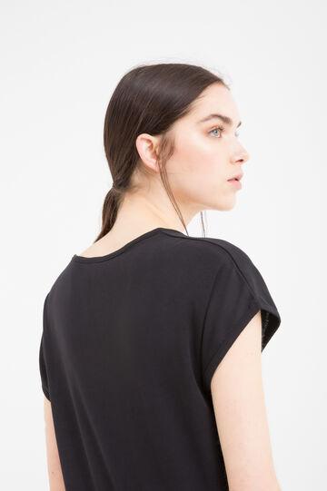 Solid colour 100% cotton T-shirt, Black, hi-res