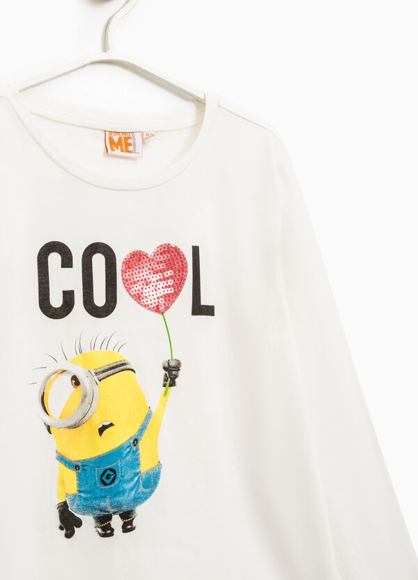 Minions print stretch T-shirt with sequins | OVS