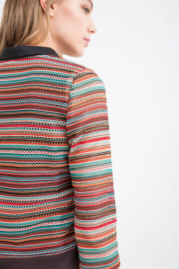 Cardigan a righe con bottoni, Multicolor, hi-res