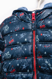 Down jacket with all-over print, Blue, hi-res