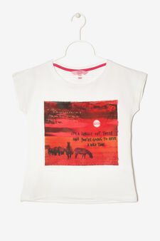 Sleeveless T-Shirt with print, Milky White, hi-res