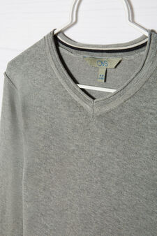 Cotton blend knitted pullover, Grey Marl, hi-res