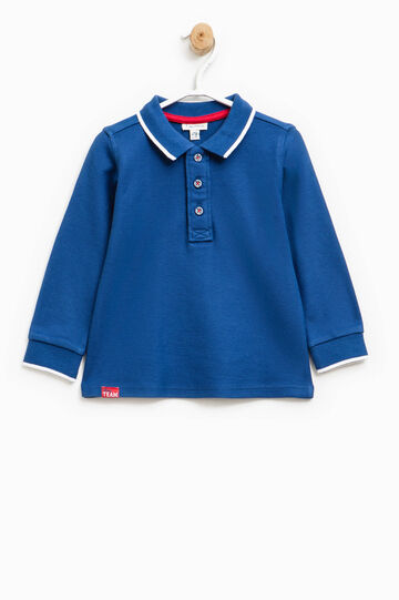 Polo shirt in 100% cotton with striped ribbing, Blue, hi-res
