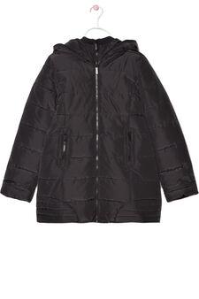 Hooded heavy jacket., Black, hi-res