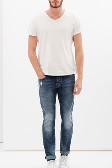 Jeans effetto used, Blu denim, hi-res