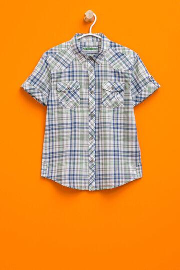 Short-sleeved tartan shirt