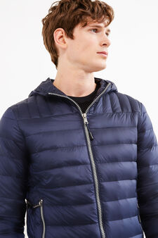 Real down jacket with hood, Navy Blue, hi-res