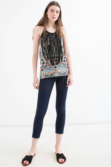 Patterned vest top in 100% cotton, Blue, hi-res