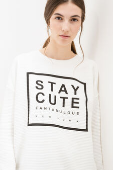 Striped viscose sweatshirt with printed lettering, Milky White, hi-res