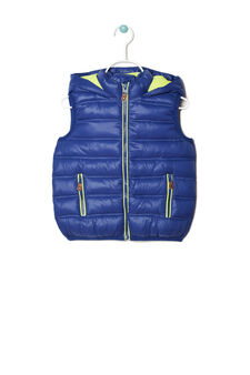 Padded waistcoat with zip, Blue/Yellow, hi-res