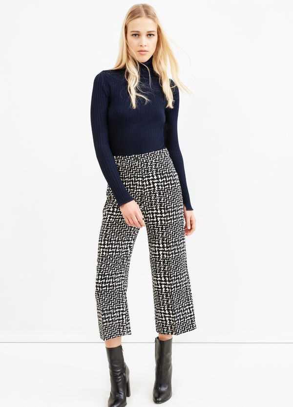 High-waisted, printed cropped trousers | OVS
