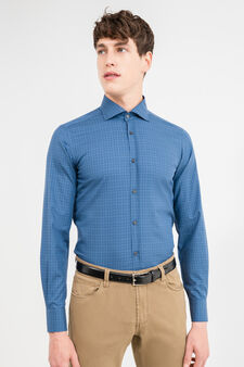 100% cotton, slim-fit formal shirt with check pattern, Blue, hi-res