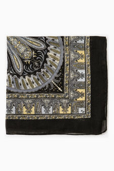 Solid colour scarf with paisley print., Black, hi-res