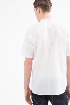 Camicia misto cotone alla coreana, Bianco, hi-res