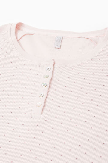 Polka dot nightshirt with lace, Light Pink, hi-res