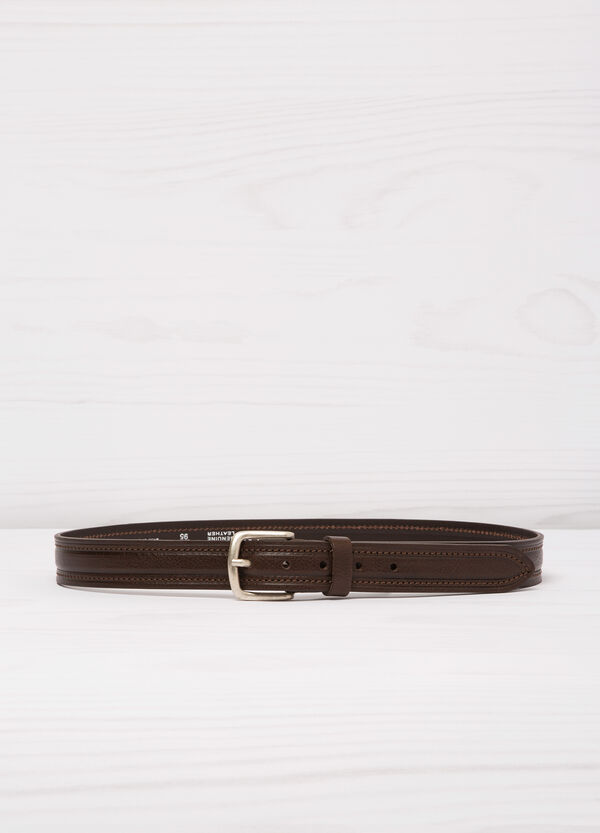 Real leather belt with single loop | OVS