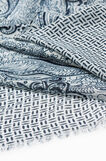 Printed scarf with fringed edges, Navy Blue, hi-res