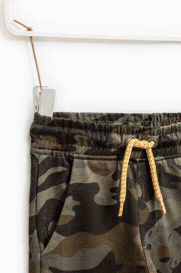 Cotton joggers with camouflage pattern, Army Green, hi-res