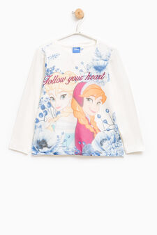 T-shirt with Frozen print and diamantés, White, hi-res