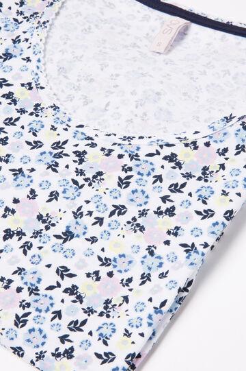 100% cotton pyjamas with floral print, Cream White, hi-res
