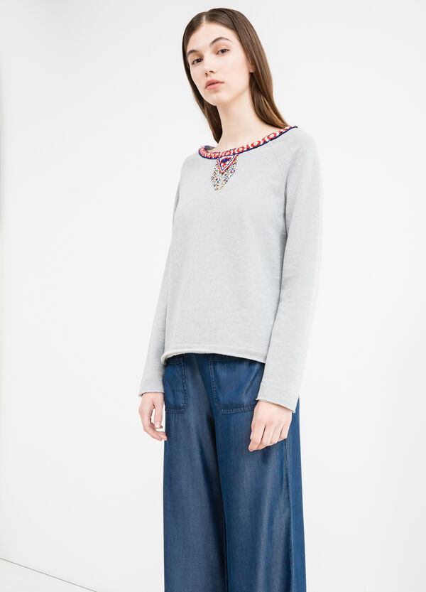 Cotton blend sweatshirt with beads | OVS
