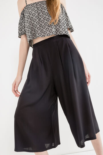 Gaucho pants in 100% viscose, Black, hi-res