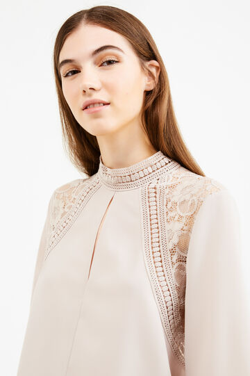 Solid colour blouse with lace inserts, Beige, hi-res