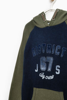 100% cotton sweatshirt with printed lettering, Blue/Green, hi-res