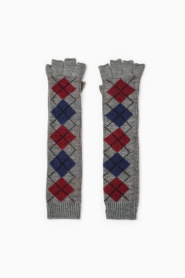 Long fingerless embroidered gloves, Grey Marl, hi-res
