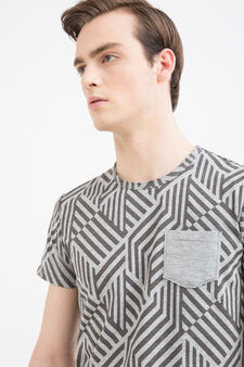 Cotton blend T-shirt with pocket, Grey Marl, hi-res