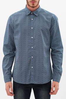 Camicia slim fit stampa onde, Nero/Blu, hi-res
