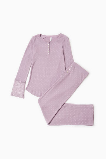 Cotton pyjamas with polka dot lace, Mauve, hi-res