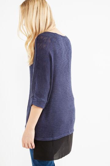 Curvy stretch crew-neck pullover, Black/Blue, hi-res