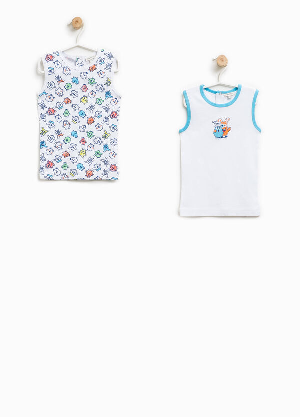 Set of two solid colour and patterned under vests | OVS