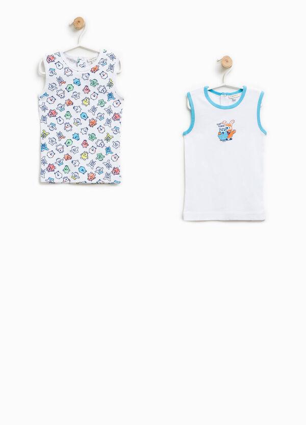 Pack de dos camisetas interiores de tirantes en color liso y con estampado | OVS