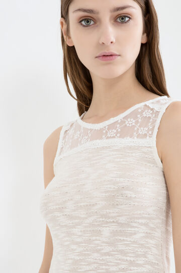 Viscose blend top with lace yoke, Milky White, hi-res