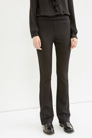 Stretch trousers with side zip, Black, hi-res