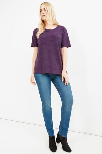 Curvy viscose T-shirt with rhinestones, Purple, hi-res