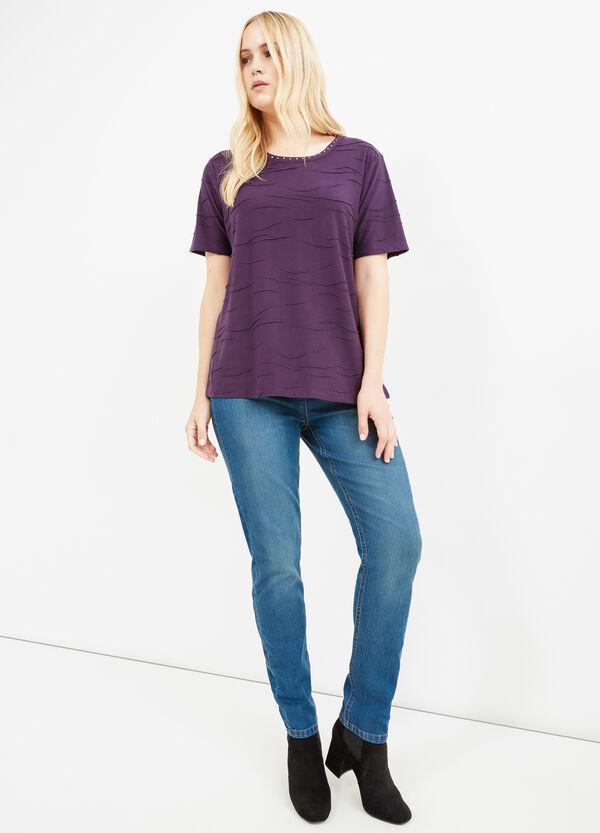 Curvy viscose T-shirt with rhinestones | OVS