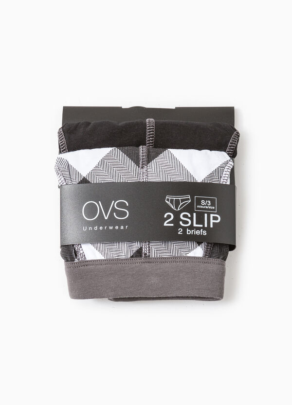 Two-pack stretch briefs solid colour and check | OVS