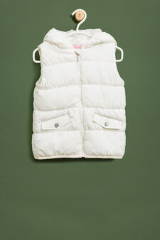 Padded waistcoat with hood, White, hi-res