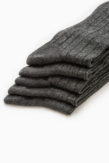 Five-pair pack long ribbed socks, Dark Grey Marl, hi-res