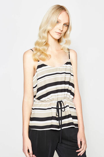 Striped top with drawstring waist