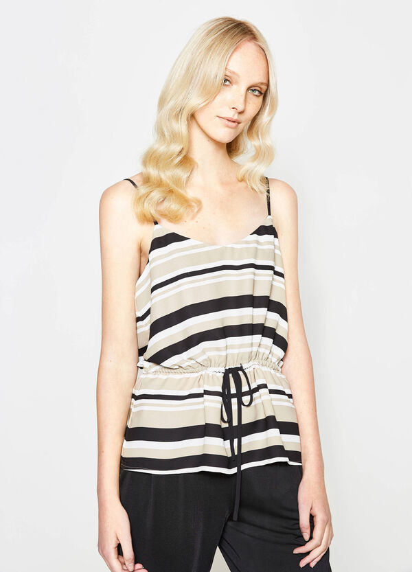 Striped top with drawstring waist | OVS