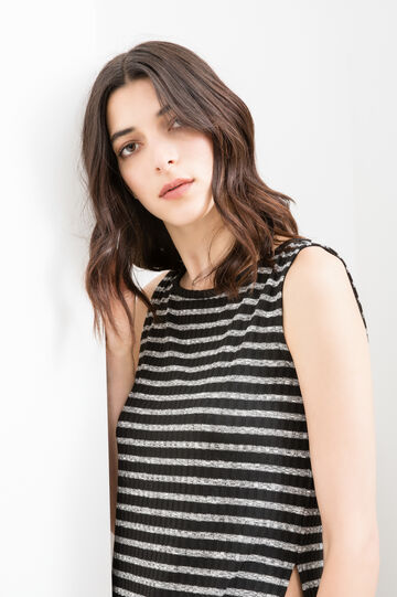 Stretch long top with striped pattern, Black/White, hi-res