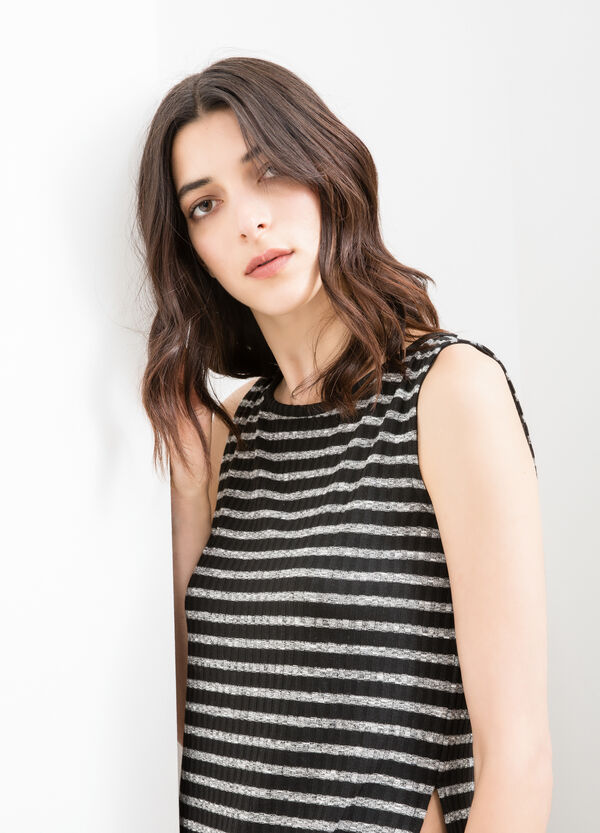 Stretch long top with striped pattern | OVS