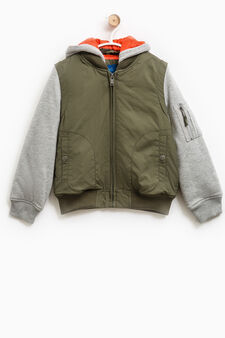 Jacket with hood and fleece sleeves, Green, hi-res